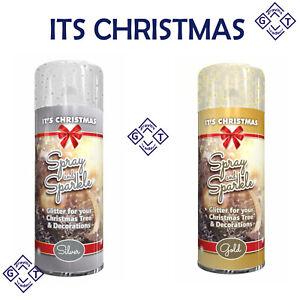 200ML CHRISTMAS TREE GLITTER GOLD SILVER SPRAY & SPARKLE For DECORATION XMAS