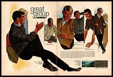 1965 Pendleton Portland Shirt V-Neck Pullover Cardigan Sweater 2-Page Print Ad
