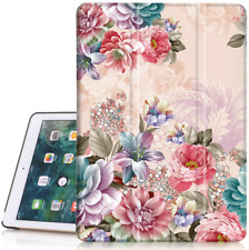 Ipad 6Th/5Th Generation Case, Hocase Pu Leather Smart Case W/Cute Flower Design,