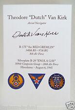 DUTCH VAN KIRK ENOLA GAY HIROSHIMA 509th 97th B 29 17 ATOMIC BOMB GROUP SIGNED ©