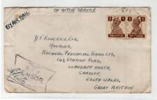 INDIA: KGVI Air Mail cover to Cardiff with RAF Censor mark  (C35185)