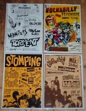 PSYCHOBILLY LOT 4 PROMO POSTERS 8 X 11 LAMINATED ROCKABILLY PSYCHOSIS KLUB FOOT