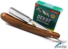 Holz Rasiermesser + 100 Derby Rasierklingen Rasierer Rasur Razor NATRA