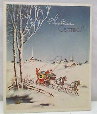 Vintage Christmas Greeting Card Horses Horse Carriage Church Snow Town Used
