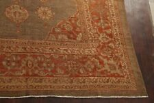 Pre-1900 Palace Antique Vegetable Dye Greenish Brown Sultanabad Oushak Wool Rug
