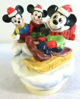 Vtg Disney Schmid Christmas Holiday Rotate Music Box Mickey Nephews Limited VGUC
