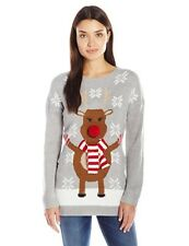 Notations Women's Happy Rudolph Ugly Christmas Sweater with 3D Nose Reindeer S