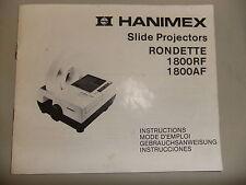 Instructions slide projector HANIMEX RONDETTE 1800 RF AF model's  CD/EMail