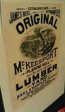 1855 McKeesport Pa. 3rd St. Neel & Wampler Lumber Yard Planing Mill Poster Repo