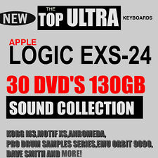 30 DVD'S 130 GB APPLE LOGIC EXS-24 GARAGE BAND STUDIO TOP SAMPLES COLLECTION