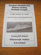 15/08/1982 en Sheffield Wedneday: Johnny Quinn All-Stars V el crusteel represe