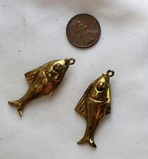 Vintage Brass Metal  Fish Charm Pendant Pair set lot DIY