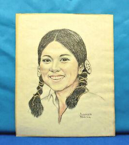 Dolores Moritz Vintage Original Colored Pencil Portrait of Native American Woman