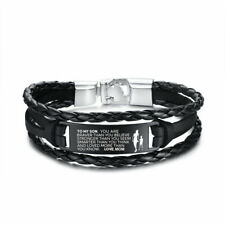Braided Leather Bracelet Male Jewelry Gift To My Son From Love Mom Bracelet