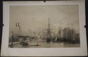 COPENHAGEN HARBOR DENMARK 1842 LEMERCIER ANTIQUE ORIGINAL LITHOGRAPHIC CITY VIEW