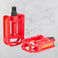 "Replacement Kids Bicycle Pedals Standard Childrens Bike 1/2"" Thread 55x80mm Red"