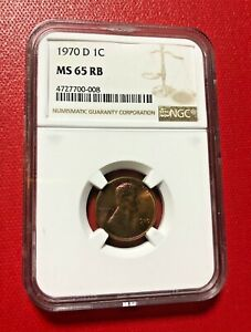 1970 D LINCOLN MEMORIAL CENT NGC MS 65 RB TONED