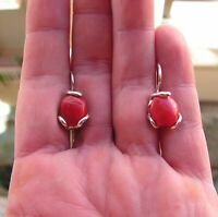 VINTAGE STYLE CORAL RED EARRINGS ITALY GENUINE Wonderfully