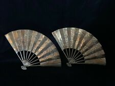 Vintage Solid Brass Oriental Hand Fan Dragon Phoenix Wall Decor Set of 2
