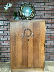 Beautiful Vintage Oak Art Nouveau 30's Hall/Small Wardrobe. Chrome Handles.