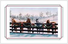 25 Christmas HOLIDAY Greeting HORSES Wreath LG Post Cards  PRINTED US CAN
