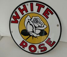"""White Rose gas Oil gasoline sign ... round ~12""""..FREE ship on 10 signs"""