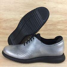 Cole Haan 2.Zerogrand Laser Wingtip Oxfords Metallic Silver Black Size 10