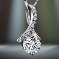 Fashion 925 Sterling Silver White Crystal Pendant Chain Necklace Women's Jewelry