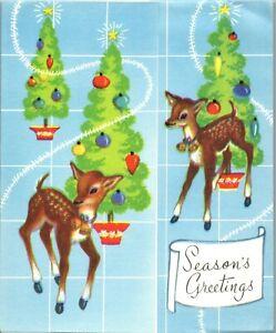 Reindeer Deer Tinsel Garland Decoration Fawn VTG Christmas Greeting Card