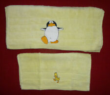 Penguin & Duck, Embroidered Yellow Face Cloth & Towel Set