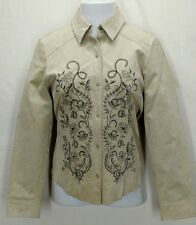 TERRITORIES Womens Beige Embroidered Lined Leather Jacket Coat Blazer Sz M 10-12