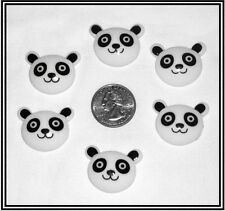 6 PC ZOO PANDA BEAR FACE RESIN FLATBACK FLAT BACK RESINS