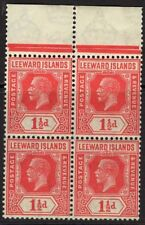 LEEWARD ISLANDS SG63 1926 1½d CARMINE MNH BLOCK OF 4