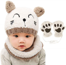 Bearbro Baby Boys Kids Girls Winter Scarf Hat and Gloves, Knitted Hat Scarf Set