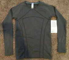 Ivivva Girls 14 Fly Tech LS Tee Gray BLK/WHT Slim Fit Gym Long Sleeve Anti-Stink