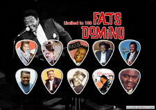 Fats Domino Guitar Picks On Photographic Background 10 Guitar Picks