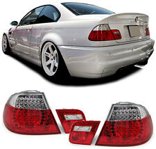2 FEUX ARRIERE A LED ROUGE BLANC CRISTAL BMW SERIE 3 E46 COUPE PACK M TECHNIC