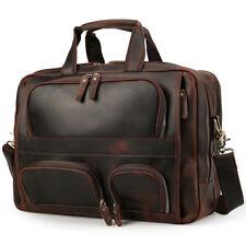 """Vintage Men Leather 16"""" Laptop Briefcase Shoulder Bag Weekend Travel Luggage"""