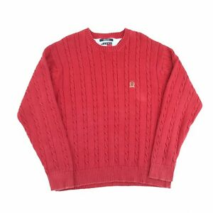 Vintage Tommy Hilfiger Heavy Knit Jumper Red XL Crew Neck