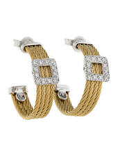New Charriol (Alor) Classique 18K Gold & Cable Diamond Hoop Earrings(MSRP $1750)