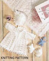 (405) Baby Cardigan Copy Knitting Pattern, Shawl, Bonnet & Booties in DK yarn