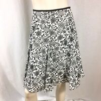 Silkland Womens Black White Flare Floral 100% Linen Lined Career Skirt Size 10