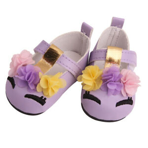 18inch Doll Princess PU Shoes Purple for American Doll Accessories