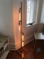 NEW Handmade Steampunk Industrial Metal Retro Copper Pipe Floor Standing 4 Lamps