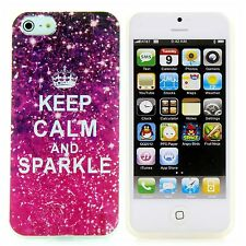 Apple iPhone 5 / 5S / SE TPU Silikon Case Schutz Hülle Etui Keep Calm Sparkle