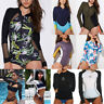 Women Rash Guard Long Sleeve Swimwear One Piece Bikini Swimsuit Surfing Suit AP