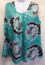 Lane Bryant Women's Top Teal Paisley Sleeveless Lined Button Back Top Blouse 20