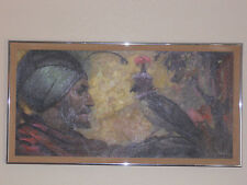Awesome Oil Painting - Falcon & His Master - Jay Datus, Listed Artist (Falconry)