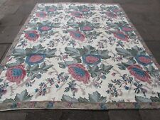 Old Hand Made Indian Kashmir Wool Cream Green Hooked Stitchwork Rug 305x220cm