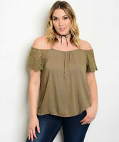 WOMEN'S PLUS SIZE FLIRTY OLIVE GREEN OFF SHOULDER LACE SLEEVE TOP 2XL NEW